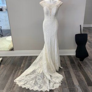 Martina Liana Lace Modest Wedding Gown Open Back